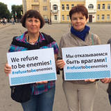"Teilnehmerinnen an der Kampagne ""We refuse to be enemies"" in Smolensk, Foto: IPPNW"
