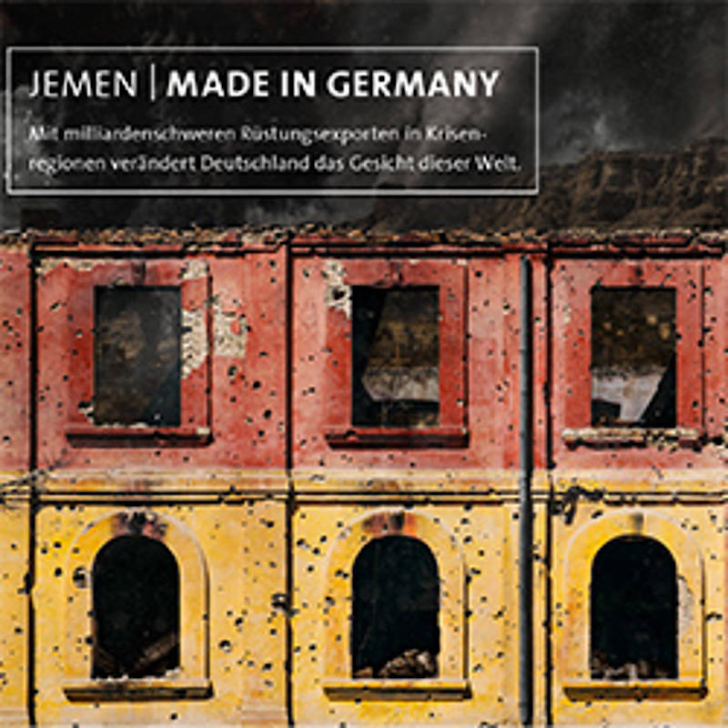 "Jemen - Made in Germany, Aktionspostkarte der Kampagne ""Aktion Aufschrei - Stoppt den Waffenhandel"""