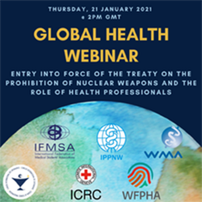 TPNW: Entry into force - Global Health Webinar. Grafik: IPPNW.